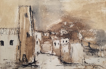 Untitled  - (Pueblos) 1966 21x31 Original Painting - Gino Hollander