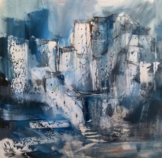 Untitled Blue Village 1978 43x23 Original Painting - Gino Hollander