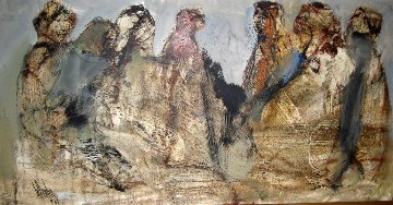 Five Women 1969 21x41 Original Painting - Gino Hollander