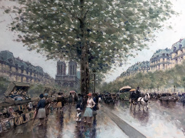 Untitled Paris Cityscape 1983 39x49 Original Painting - Andre Gisson