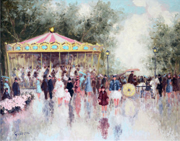 Carousel 24x28 Original Painting - Andre Gisson