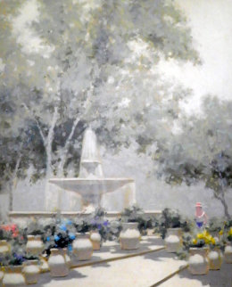 Woman And Fountain in the Tuileries Garden 37x31 Paris Original Painting - Andre Gisson