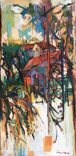 Summer Houses 48x24 Original Painting - Kamal Givian