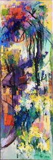 Crape Trees  72x24  Original Painting - Kamal Givian