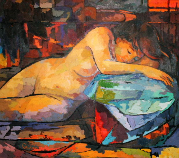 Nude on a Blue Pillow 42x46