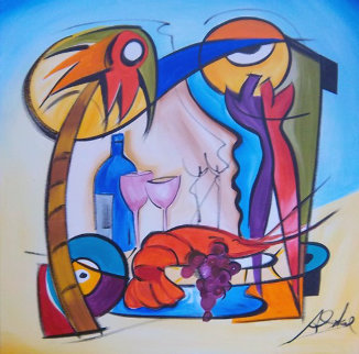 Dinner Is Served 2006 32x32 Original Painting - Alfred Gockel