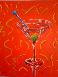 Red Martini 2002 24x24 Original Painting - Michael Godard