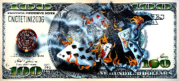 $100 Bill Full-House Player on Fire 2015 Embellished Limited Edition Print - Michael Godard
