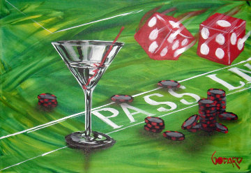 Loose Poker Series (Olive) 24x36 Original Painting - Michael Godard