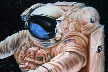 Astronaut Floating in Space 1999 48x60 Original Painting - Michael Godard