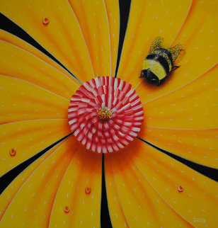 Flower and Bug Series, Set of 4 Artworks 2002 Original Painting - Michael Godard