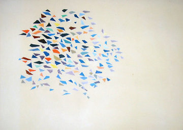 Color Shapes 1975 38x48 Original Painting - Robert Goodnough