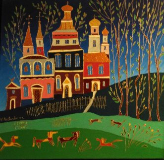 Autumn in St. Petersburg 1992 35x24 Original Painting - Yuri Gorbachev