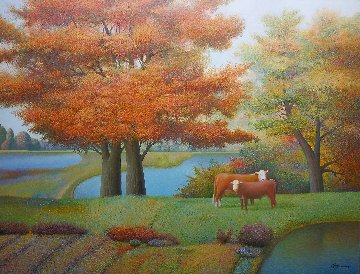 By the Red Tree 2011 40x52 Original Painting - Evgeni Gordiets