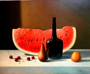 Still Life With Watermelon 2008 24x30 Original Painting - Evgeni Gordiets