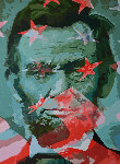 Anathema Painting 5, Lincoln And the American Flag 2017 60x43 Original Painting - Gordon Carter