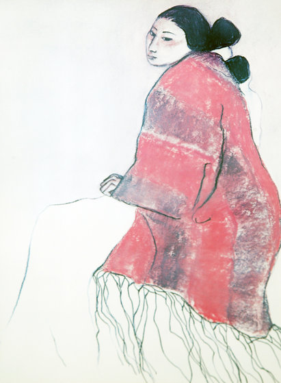 Woman in Red Blanket Pastel 1978 16x12