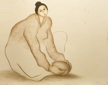 Seated Female Potter Limited Edition Print - R.C. Gorman