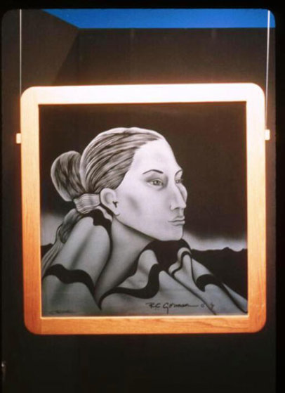 Navajo Lady Etched Glass AP