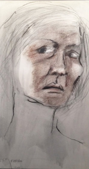 Untitled Portrait of a Woman Pastel 1968 14x10