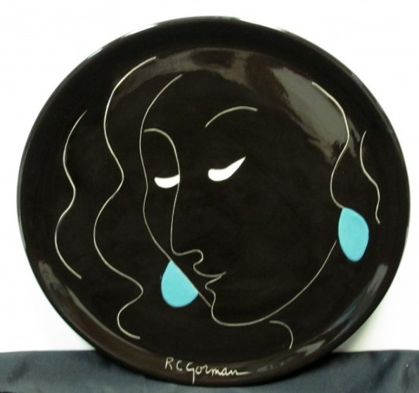 Taos spanish lady state i ceramic platter by r c gorman for Best way to sell your art online