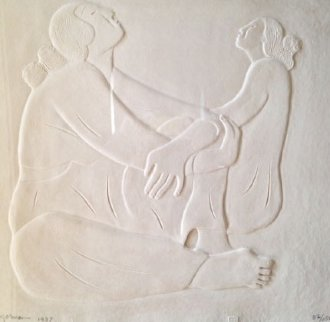 Two Women Cast Paper 1987 Limited Edition Print - R.C. Gorman