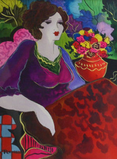 Lady in Lilac 2007 14x11 Original Painting - Patricia Govezensky