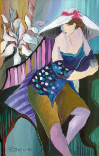 Woman in Blue 1988 30x42 Original Painting - Patricia Govezensky