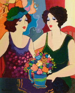 Untitled Two Women 2005 30x26 Original Painting - Patricia Govezensky