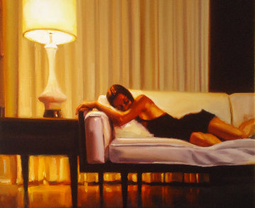 Woman on Couch 23x27 Original Painting - Carrie Graber