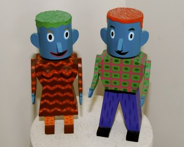Canhead Man and Canhead Woman, Set of 2 Wood Sculptures 1992 10 in Sculpture - Rodney Alan Greenblat