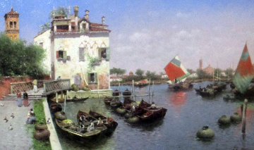 Venice Harbor 2004 20x26 Original Painting - Vasily Gribennikov