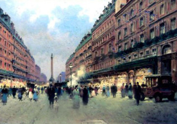 Place De Bastille, Paris, France 2014 19x24 Original Painting - Vasily Gribennikov