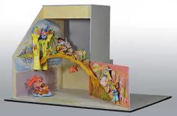Magical Fairytale Diorama Wood and Clay Sculpture 1986 36 in