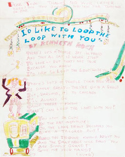 I'd Like to Loop the Loop with You and Tappy Toes, Set of 2  Illustrated 1968 Lyrics Drawing - Red Grooms