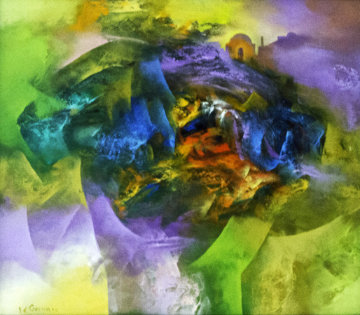 Creation V 2006 35x31 Original Painting - Eduard Grossman