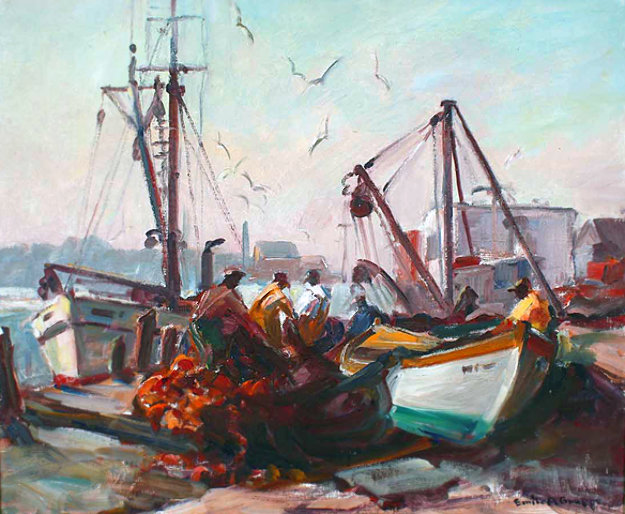 Untitled fishing docks gloucester 1950 20x24 by emile for Best way to sell your art online