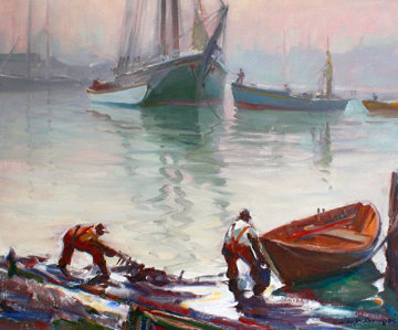 Untitled Boat Yard 1940 28x32 Original Painting - Emile Albert Gruppe
