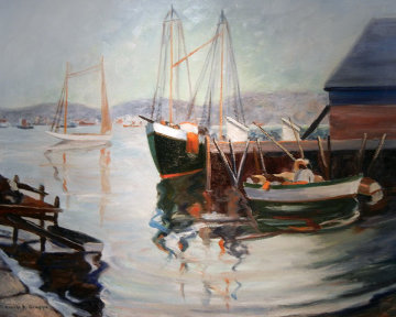 Gloucester Harbor 1966 Original Painting - Emile Albert Gruppe