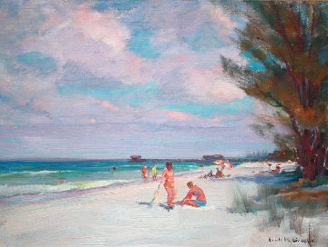 Beach in Naples 1950 12x16 Original Painting - Emile Albert Gruppe