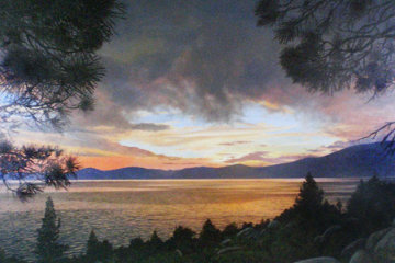 A Summer Dream Sunset, Lake Tahoe 1985 32x52 Original Painting - Jean Guay