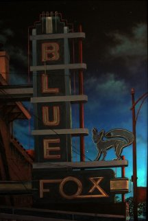 Blue Fox At Night 2001 57x40 Original Painting - James Gucwa