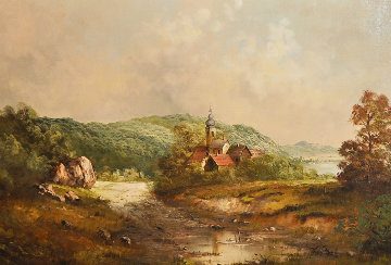 Old World Landscape 29x52 Original Painting - Eleonore Guinther