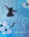 Mini Bird Series (Blue) 2013 10x8 Original Painting - Patrick Guyton