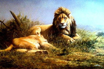 Lion and Lioness 1995 33x47 Original Painting - Grant Hacking