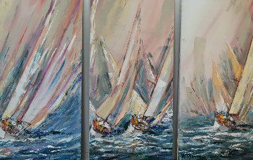 Sail Boat Race 1985 48x24 Original Painting - Kerry Hallam