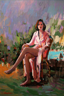 Untitled Seated Woman 36x24 Original Painting - Kerry Hallam