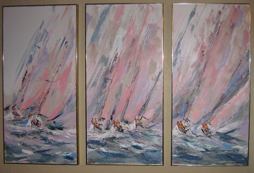 Boat Races Tryptich 1985 48x72 (Early) Original Painting - Kerry Hallam