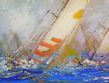 Untitled (Sailboats) 1998 13x40 Original Painting - Kerry Hallam