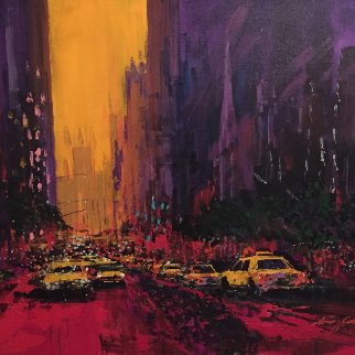New York Evening 2010 30x36 Original Painting - Kerry Hallam